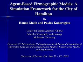 Agent-Based Firmographic Models: A Simulation Framework for the City of Hamilton