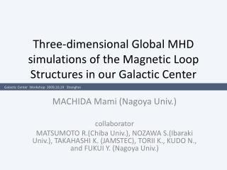 Three-dimensional Global MHD simulations of the Magnetic Loop Structures in our Galactic Center