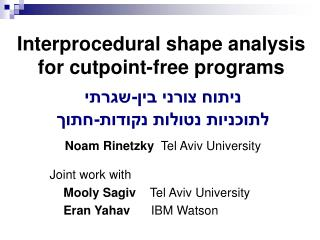 Interprocedural shape analysis for cutpoint-free programs