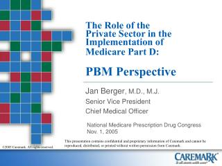 The Role of the  Private Sector in the Implementation of  Medicare Part D: PBM Perspective