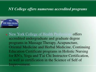A specialized college for holistic education- NY College