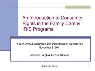 An Introduction to Consumer Rights in the Family Care & IRIS Programs
