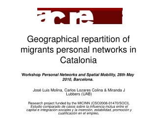 Geographical repartition of migrants personal networks in Catalonia