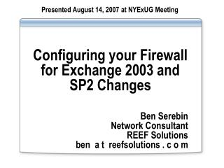Configuring your Firewall for Exchange 2003 and SP2 Changes