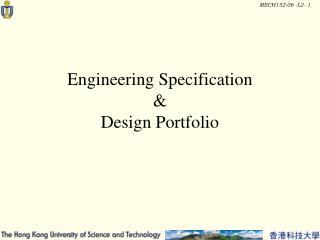 Engineering Specification  &  Design Portfolio
