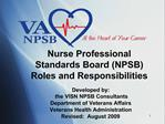 Nurse Professional Standards Board NPSB Roles and Responsibilities