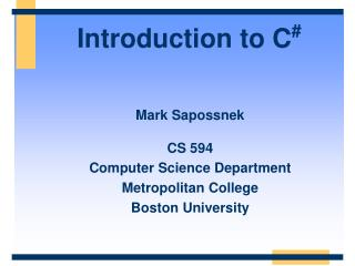 Introduction to C #