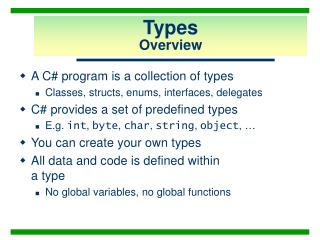 Types Overview