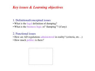 Key issues & Learning objectives