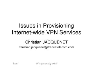 Issues in Provisioning Internet-wide VPN Services