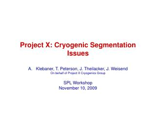 Project X: Cryogenic Segmentation Issues