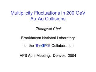 Multiplicity Fluctuations in 200 GeV Au-Au Collisions