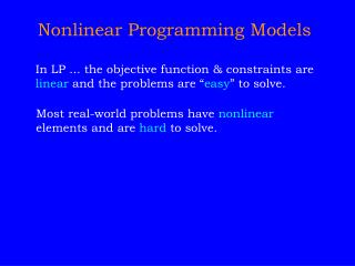 Nonlinear Programming Models