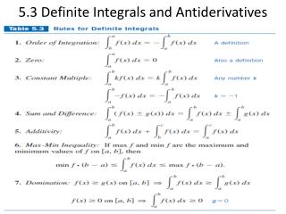 5.3 Definite Integrals and Antiderivatives