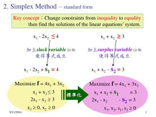 2. Simplex Method –  standard form