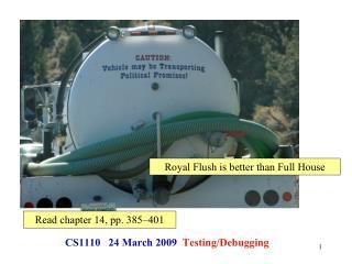 CS1110 24 March 2009 Testing/Debugging