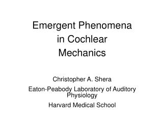 Emergent Phenomena in Cochlear Mechanics