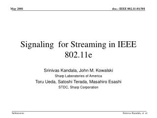 Signaling  for Streaming in IEEE 802.11e