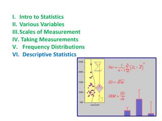 Intro to Statistics Various Variables Scales of Measurement  Taking Measurements