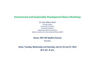 Environment and Sustainable Development Basics Workshop