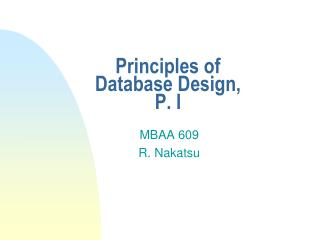 Principles of Database Design, P. I