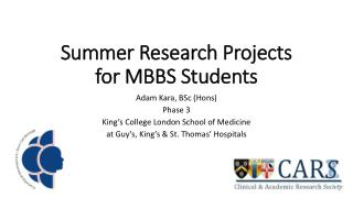 Summer Research Projects for MBBS Students