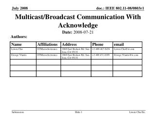 Multicast/Broadcast Communication With Acknowledge