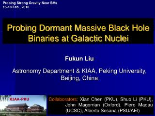 Probing Dormant M assive Black Hole Binaries at Galactic Nuclei