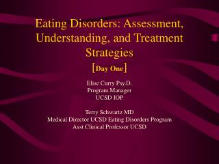 Eating Disorders: Assessment, Understanding, and Treatment Strategies  [ Day One ]