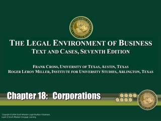 Chapter 18:   Corporations