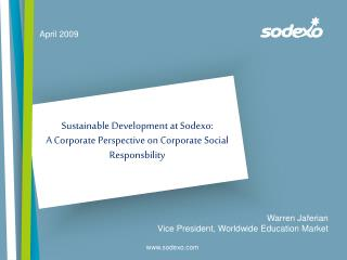Sustainable Development at Sodexo: A Corporate Perspective on Corporate Social Responsbility