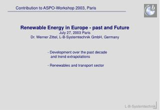 Contribution to ASPO-Workshop 2003, Paris