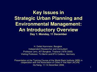 H. Detlef Kammeier, Bangkok  Independent Researcher and Consultant