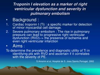 Troponin I elevation as a marker of right ventricular dysfunction and severity in pulmonary embolism