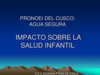 PRONOEI DEL CUSCO: AGUA SEGURA  IMPACTO SOBRE LA SALUD INFANTIL
