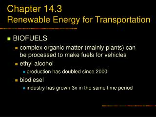 Chapter 14.3 Renewable Energy for Transportation