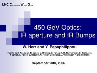 450 GeV Optics:  IR aperture and IR Bumps