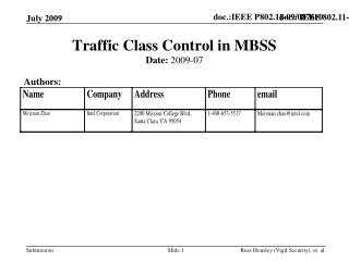 Traffic Class Control in MBSS