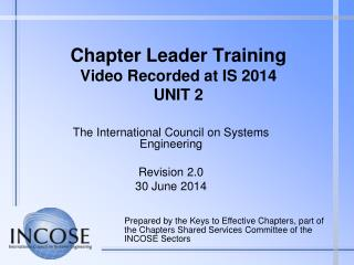 Chapter Leader Training Video Recorded at IS  2014 UNIT  2