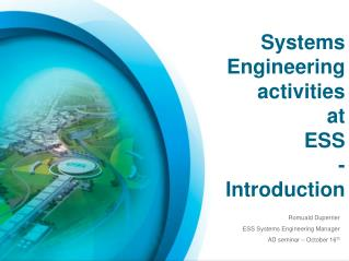 Systems  Engineering activities at ESS - Introduction