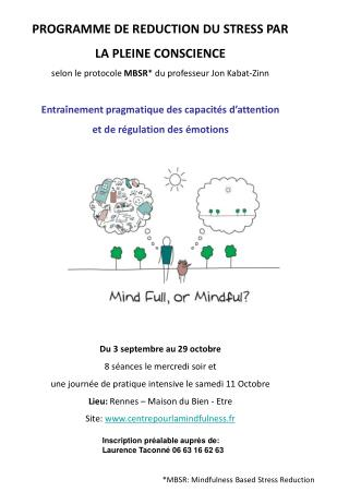 PROGRAMME DE REDUCTION DU STRESS PAR  LA PLEINE CONSCIENCE