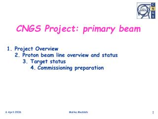CNGS Project: primary beam