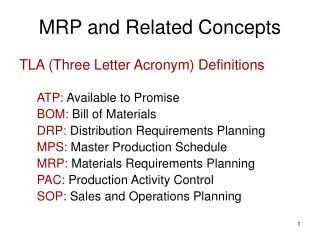 MRP and Related Concepts