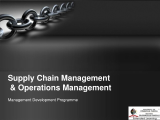 Supply Chain Management & Operations Management