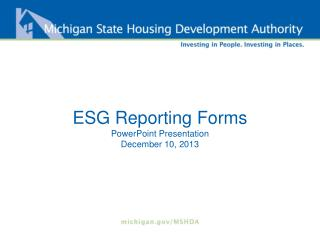 ESG Reporting Forms PowerPoint Presentation December 10, 2013
