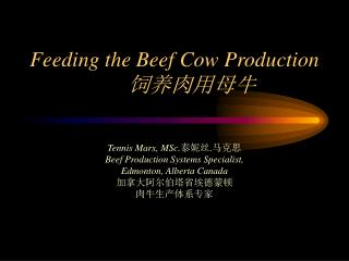 Feeding the Beef Cow Production	 饲养肉用母牛
