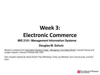Week 3: Electronic Commerce