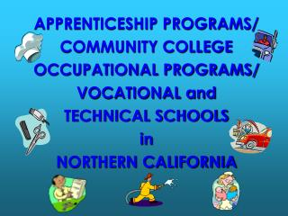 APPRENTICESHIP PROGRAMS/ COMMUNITY COLLEGE OCCUPATIONAL PROGRAMS/ VOCATIONAL and TECHNICAL SCHOOLS