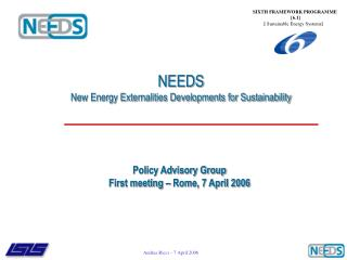 NEEDS New Energy Externalities Developments for Sustainability