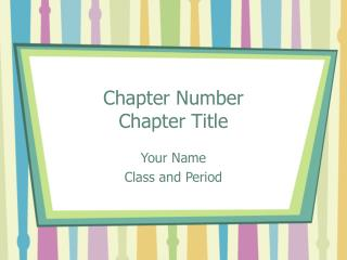 Chapter Number Chapter Title